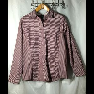 George Maroon and White Striped Top Size XL 16-18